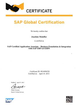 SAP Certified Application Associate – Business Foundation & Integration – SAP ERP 6.0
